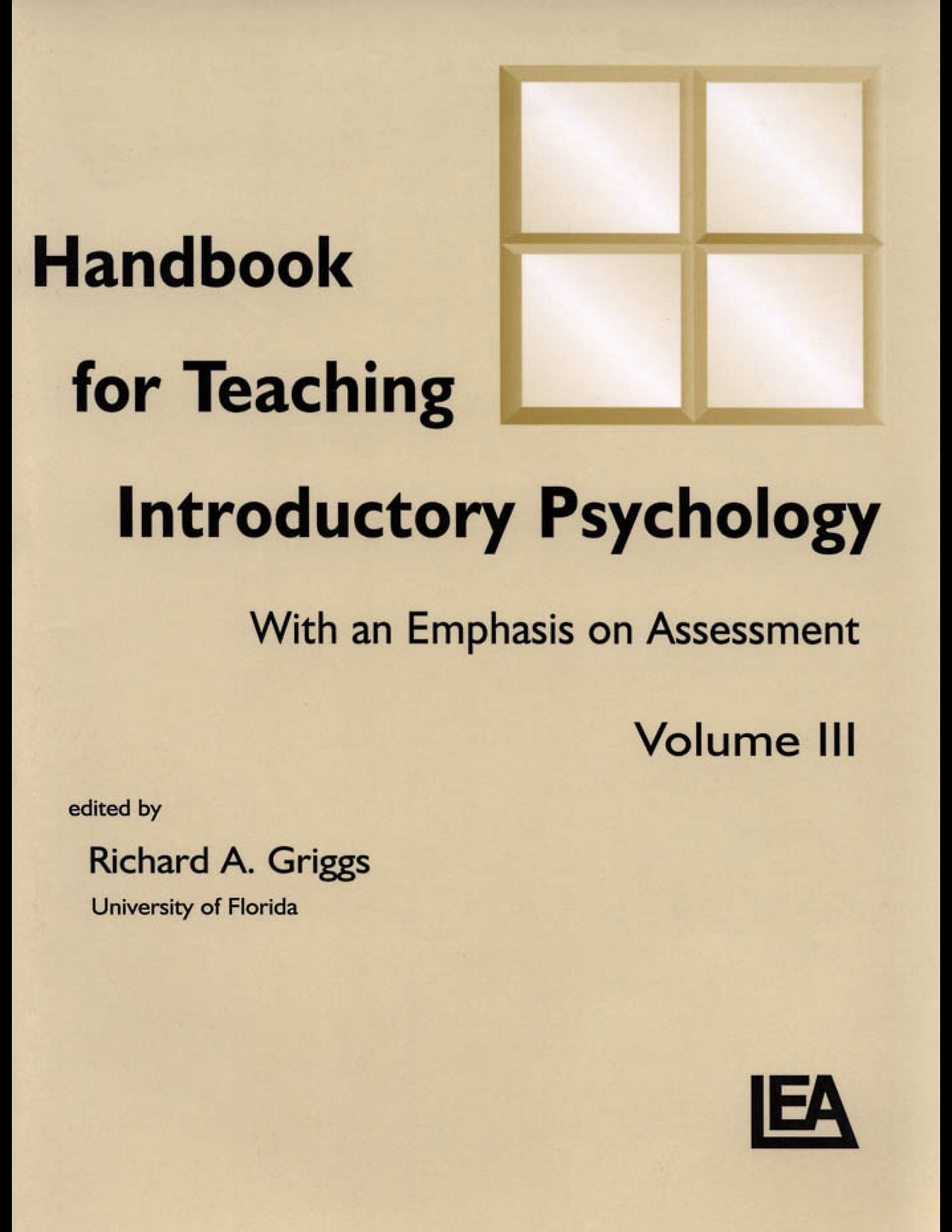 Handbook for Teaching Introductory Psychology: With An Emphasis on Assessment, Volume Iii