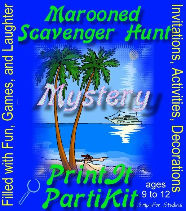 Marooned Scavenger Hunt for 10 Girls Mystery Party Game and Kit: Filled with Fun, Games and Laughter