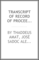 Transcript of Record of Proceedings Before the Mexican and American Mixed ...