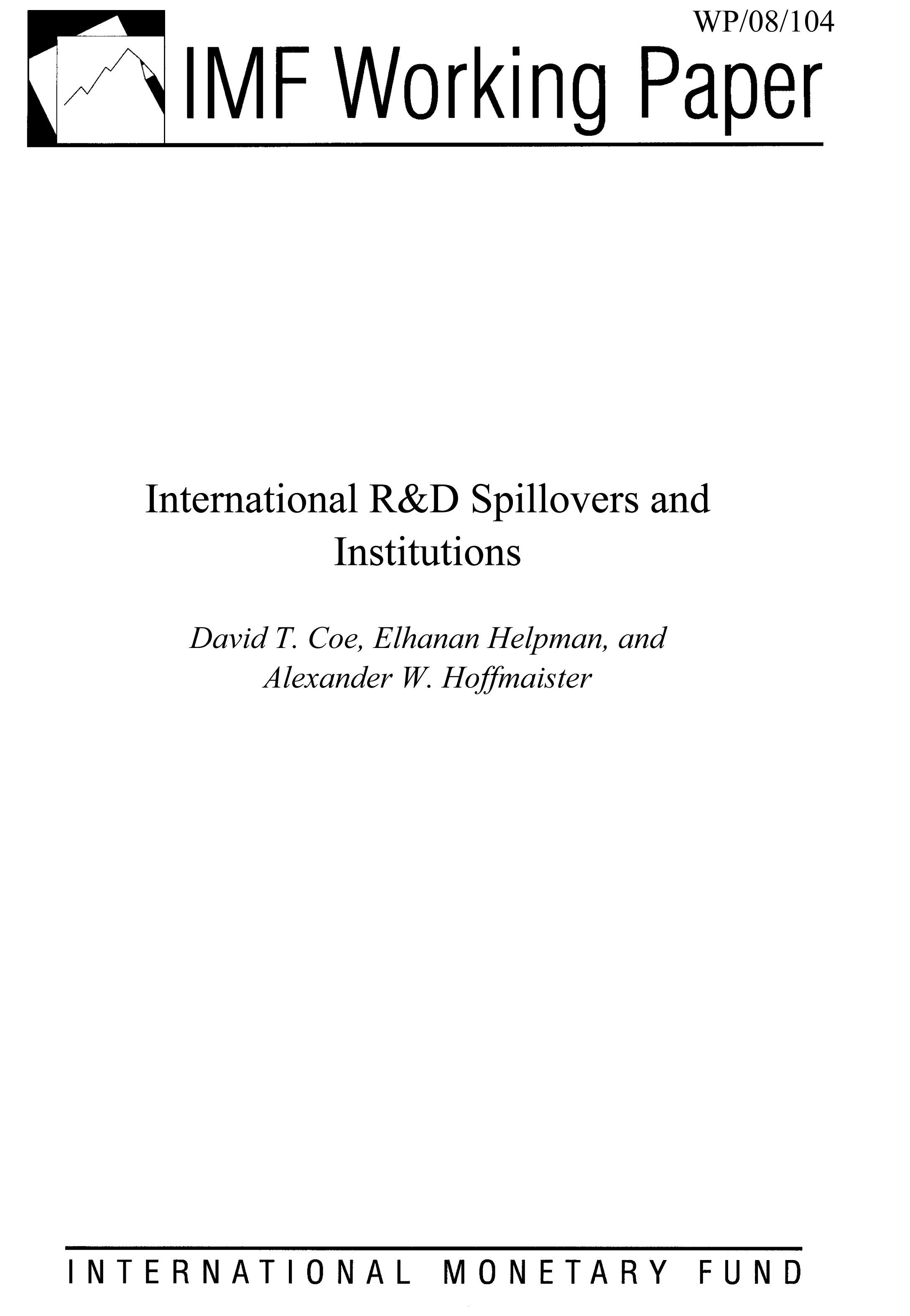 International R&D Spillovers and Institutions