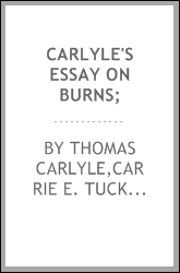 Carlyle's essay on Burns;