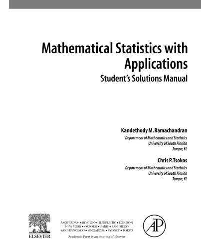 Mathematical Statistics with Applications, Student Solutions Manual By: Ramachandran