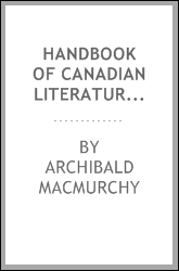 download Handbook of Canadian literature (English) book