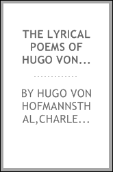 The lyrical poems of Hugo von Hofmannsthal