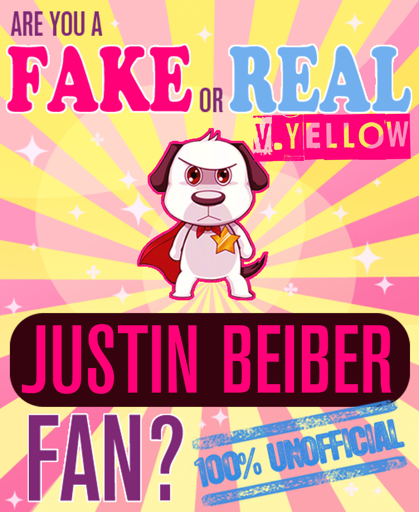 Are You a Fake or Real Justin Bieber Fan? Version Yellow: The 100% Unofficial Quiz and Facts Trivia Travel Set Game