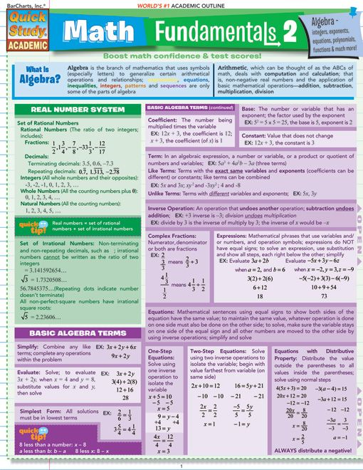 Math Fundamentals 2 By: BarCharts,Inc