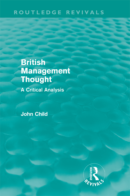 British Management Thought (Routledge Revivals) A Critical Analysis