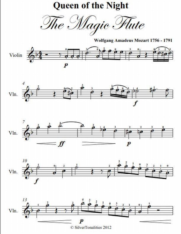 Queen of the Night Magic Flute Easy Violin Sheet Music