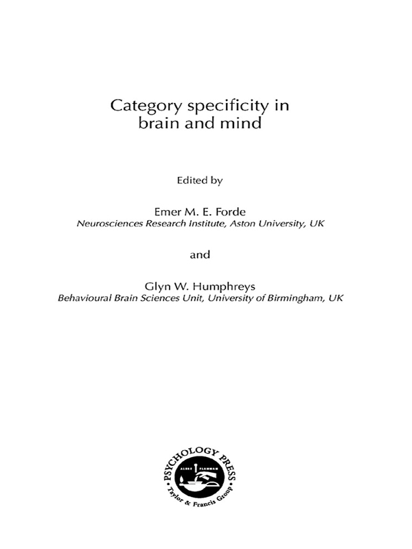 Category Specificity in Brain and Mind