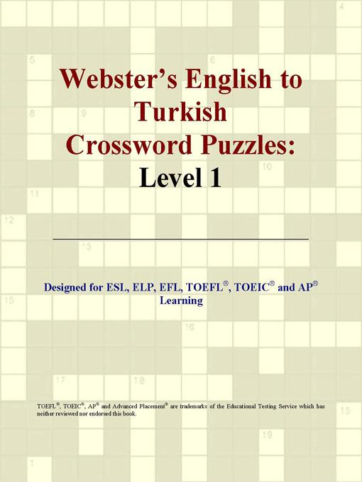ICON Group International - Webster's English to Turkish Crossword Puzzles: Level 1
