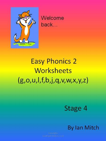 Easy Phonics 2 Worksheets (g,o,u,l,f,b,j,q,v,w,x,y,z)
