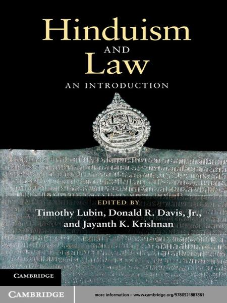 Hinduism and Law An Introduction