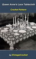 online magazine -  Queen Anne's Lace Tablecloth Vintage Crochet Pattern Ebook