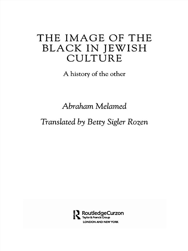Image of the Black in Jewish Culture A History of the Other