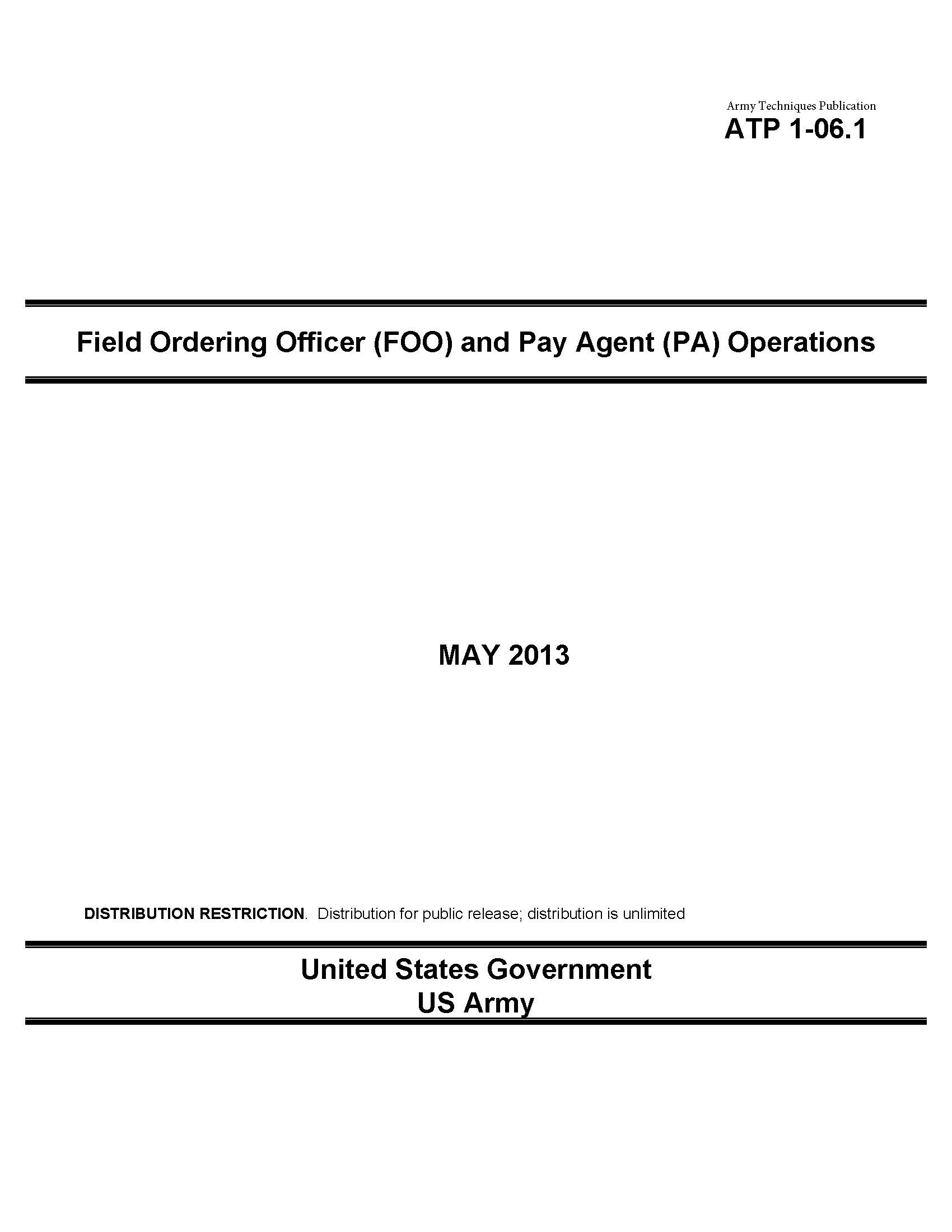 Army Techniques Publication ATP 1-06.1 Field Ordering Officer (FOO) and Pay Agent (PA) Operations May 2013