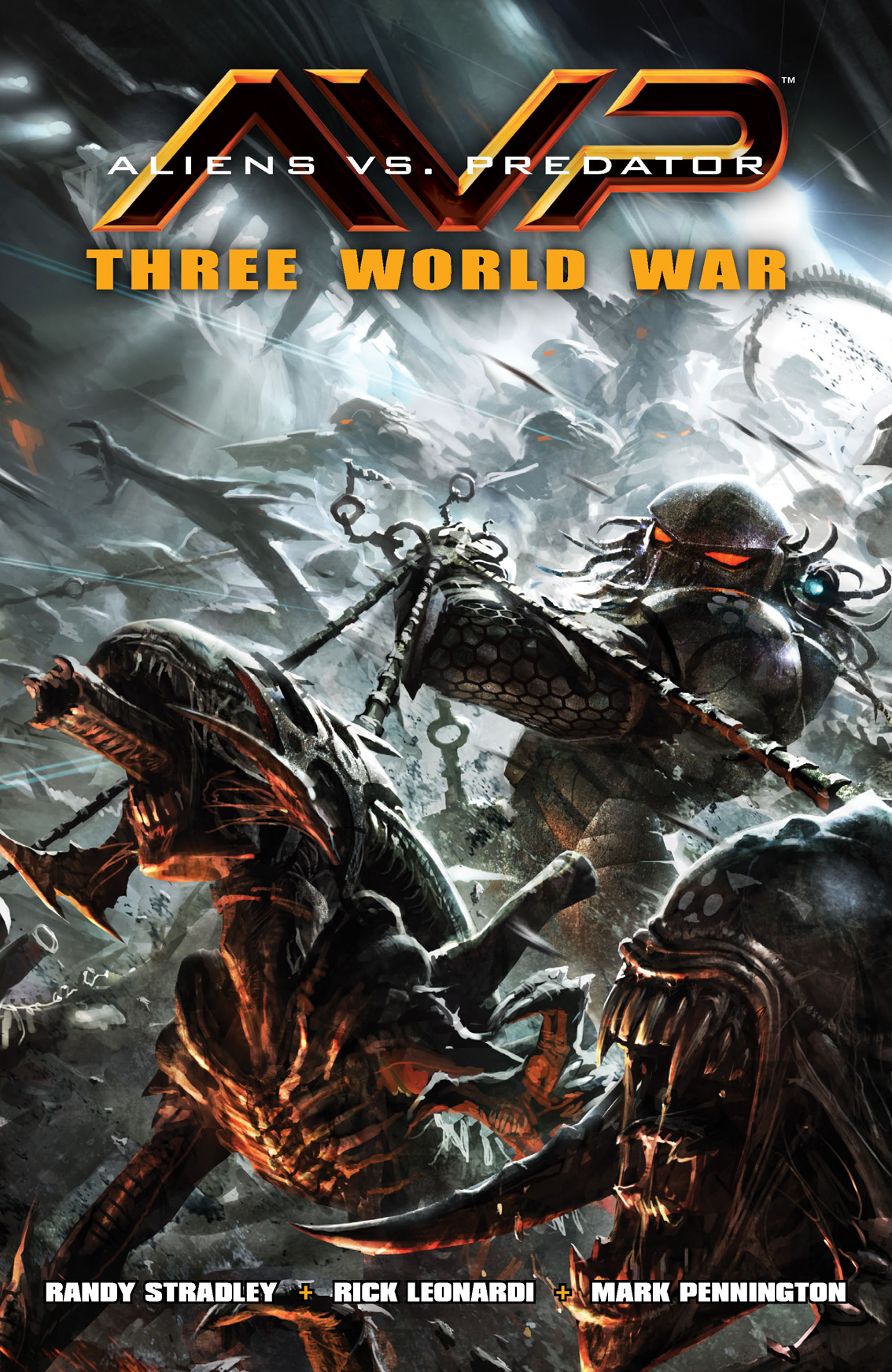Aliens vs. Predator: Three World War By: Randy Stradley,  Rick Leonardi (Penciller),  Mark Pennington (Inker), Wes Dzioba (Colorist), Raymond Swanland (Cover Artist)