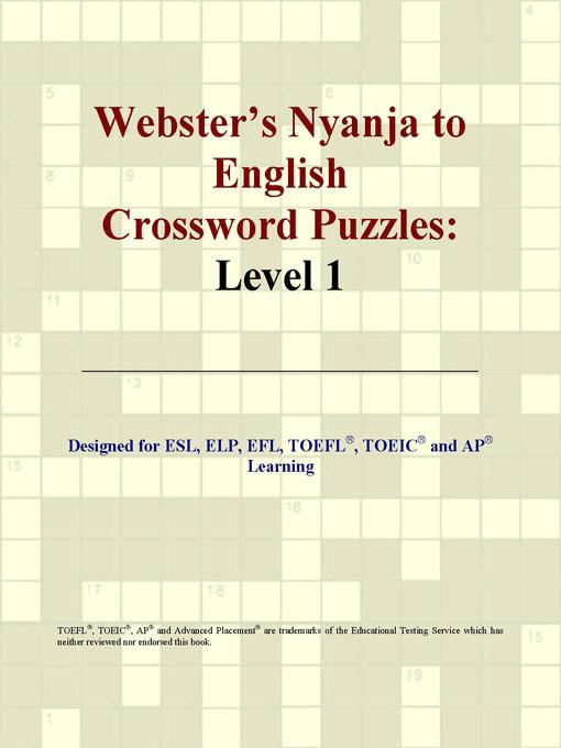 ICON Group International - Webster's Nyanja to English Crossword Puzzles: Level 1