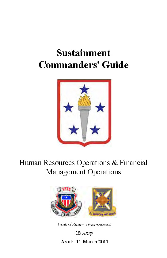 Sustainment Commander's Guide Human Resources Operations & Financial Management Operations