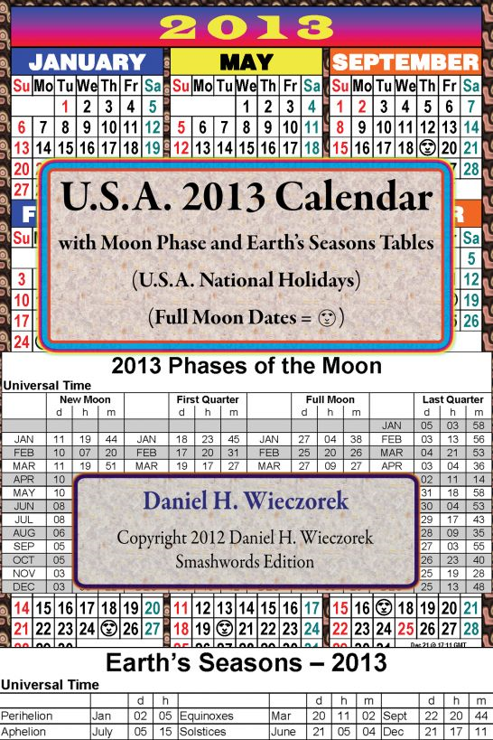 2013 U.S.A. Calendar With Moon Phase Table
