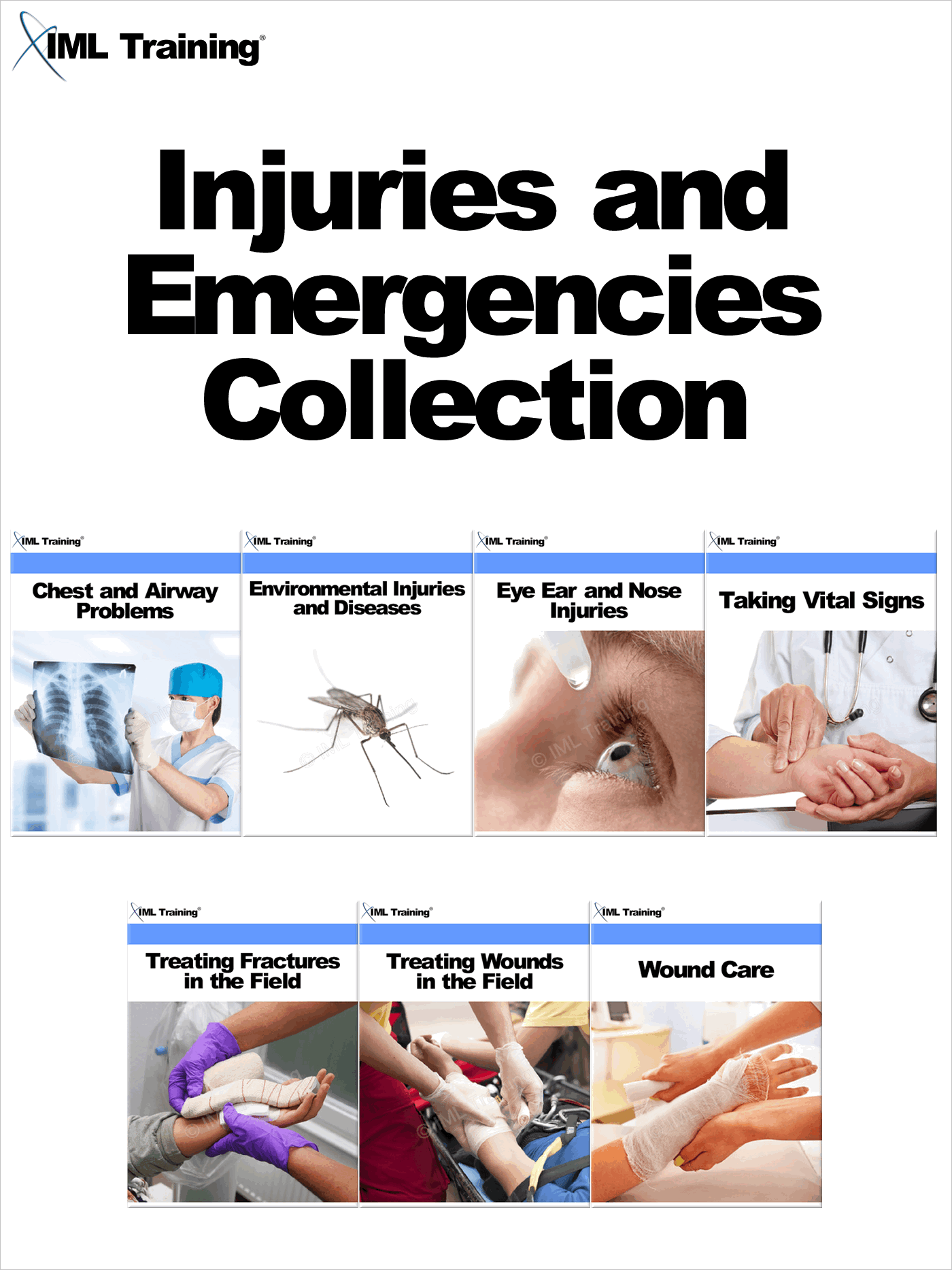 Injuries and Emergencies Collection Includes Chest and Airway Problems,  Environmental Injuries and Diseases,  Eye Ear and Nose Injuries,  Taking Vital S