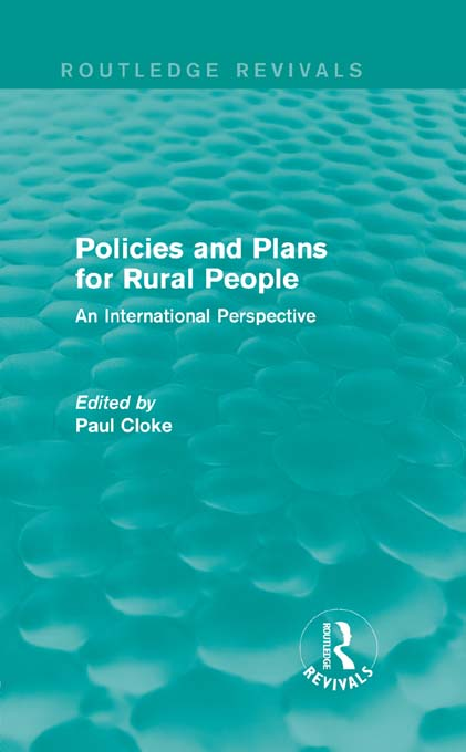 Policies and Plans for Rural People: An International Perspective An International Perspective