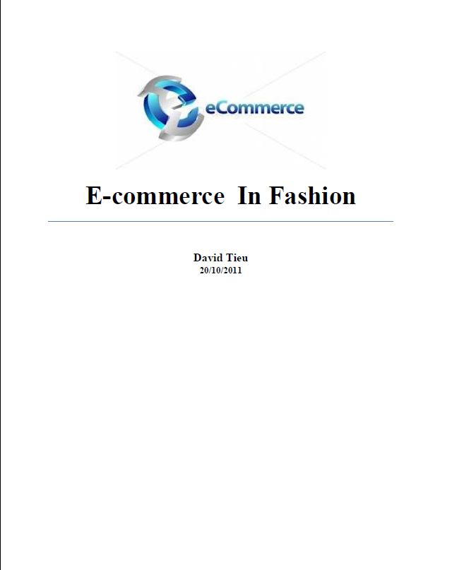 E-commerce  In Fashion