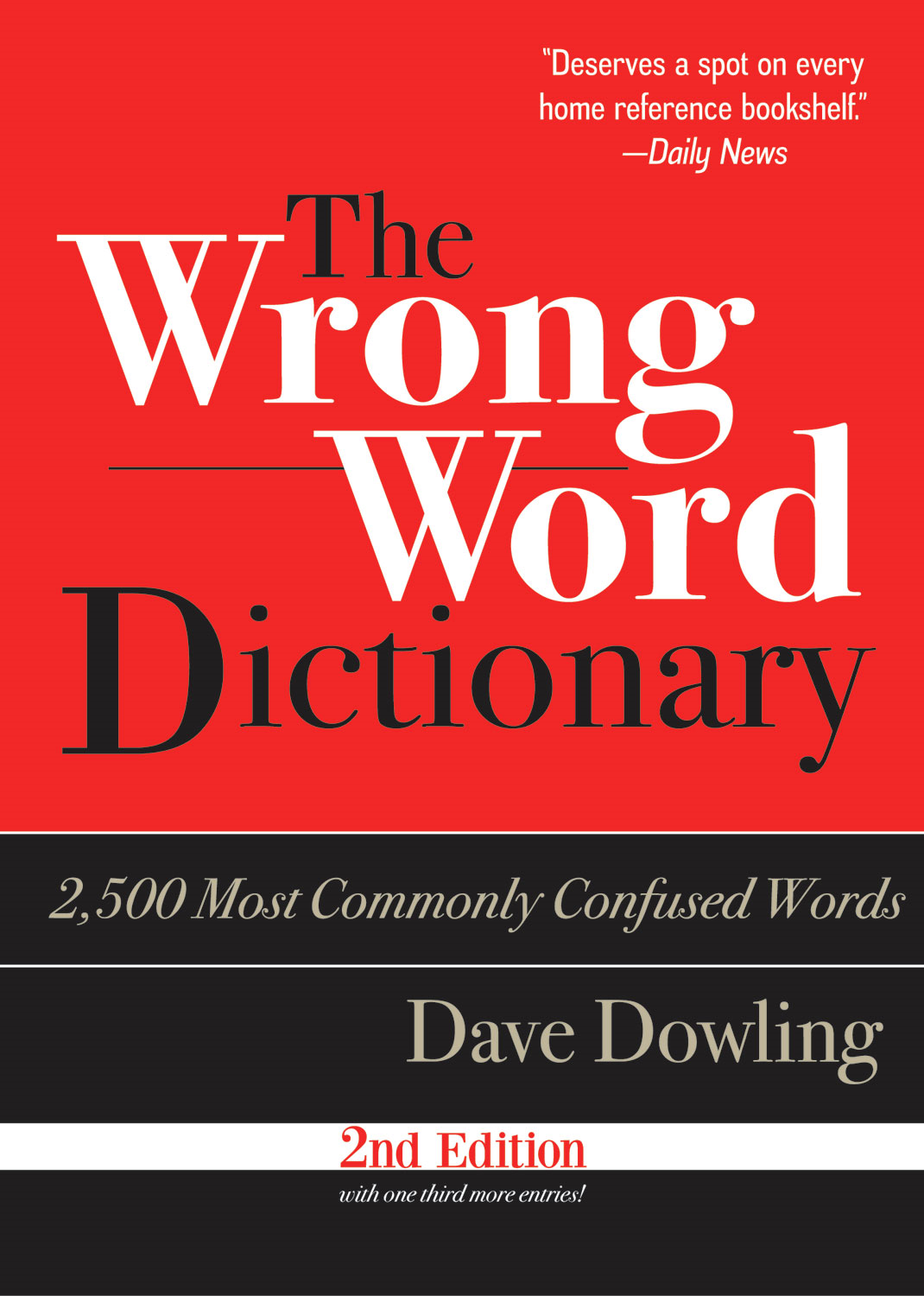 The Wrong Word Dictionary: 2,500 Most Commonly Confused Words By: Dave Dowling
