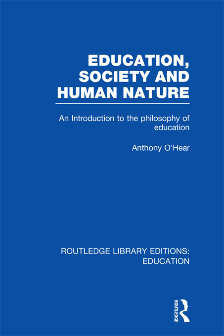 Education, Society and Human Nature (RLE Edu K)