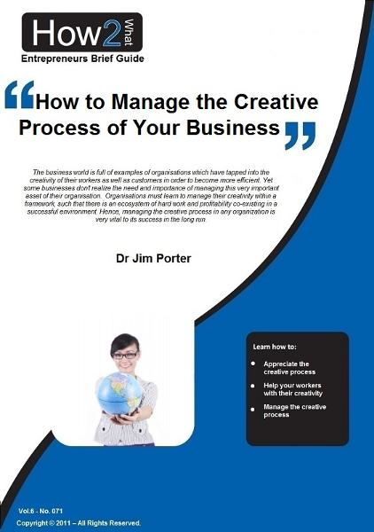 How to Manage the Creative Process of Your Business By: Dr Jim Porter