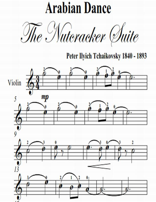 Arabian Dance Nutcracker Suite Easy Violin Sheet Music