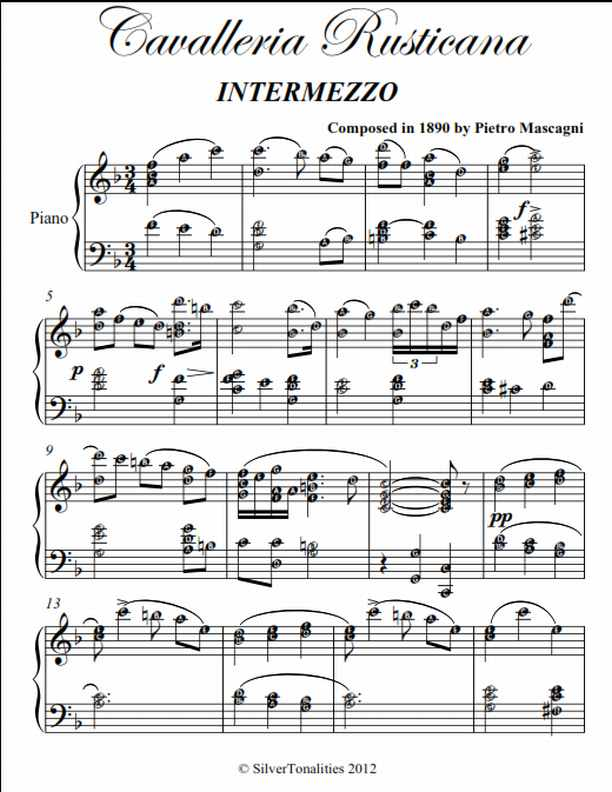 Cavelleria Rusticana Intermediate Piano Sheet Music