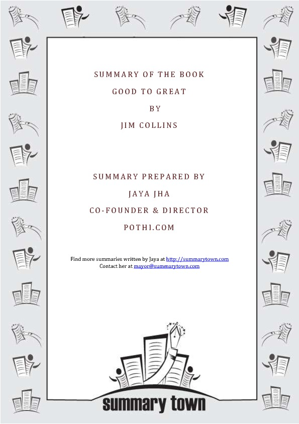 Summary of the book Good to Great by Jim Collins