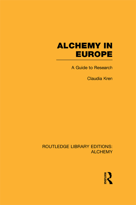 Alchemy in Europe A Guide to Research