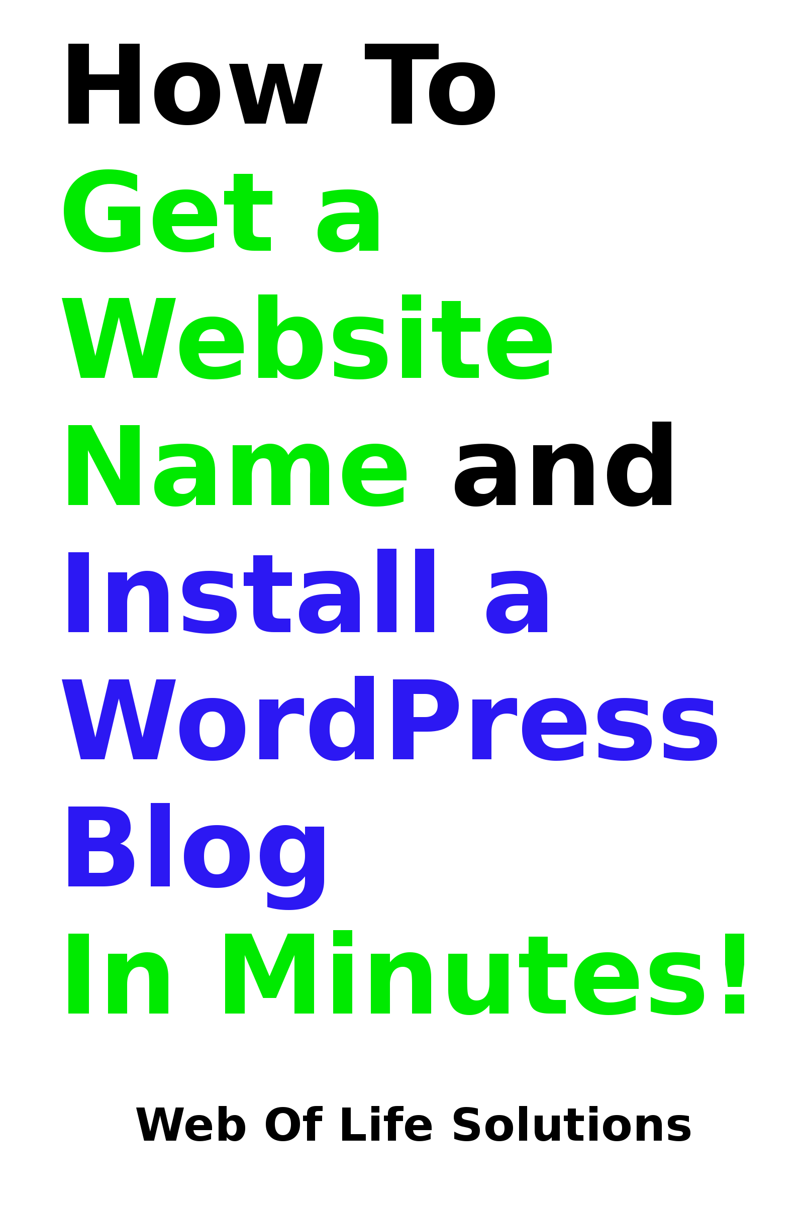 How To Get a Website Name and Install a WordPress Blog In Minutes! By: Web of Life Solutions