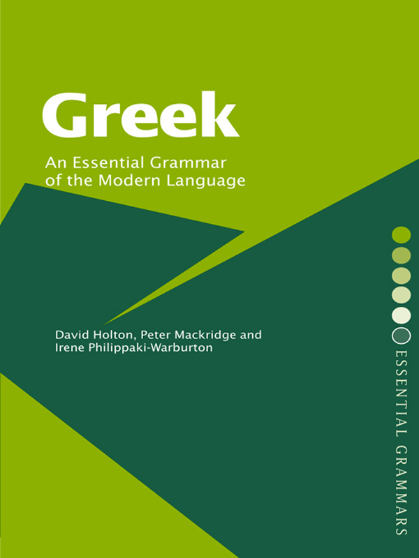 GREEK: AN ESSENTIAL GRAMMAR