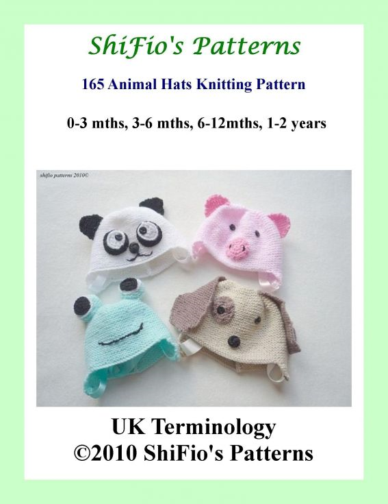 165 – Baby Animal Hats Knitting Pattern #165