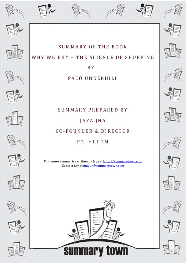 Summary of the book Why We Buy by Paco Underhill