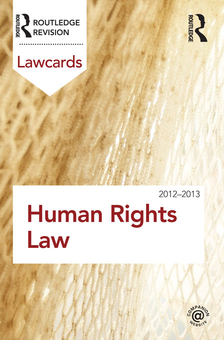 Human Rights Lawcards 2012-2013 By: Routledge