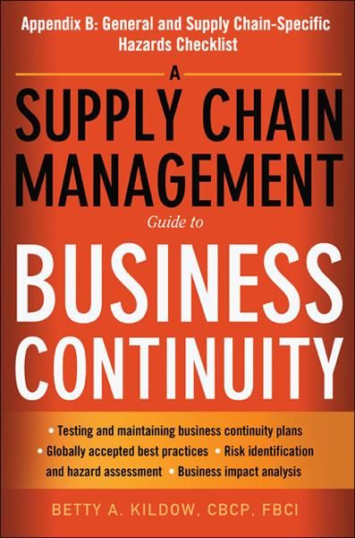 A Supply Chain Management Guide to Business Continuity, Appendix B