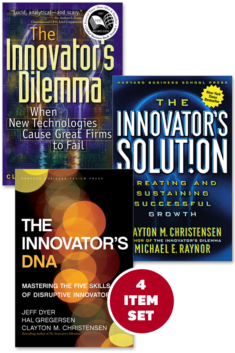 "The Clayton Christensen Innovation Collection (includes The Innovator's Dilemma, The Innovator's Solution, The Innovator's DNA, and the award-winning Harvard Business Review article ""How Will You Measure Your Life?"") By: Clayton M. Christensen,Hal Gregersen,Jeff Dyer,Michael E. Raynor"
