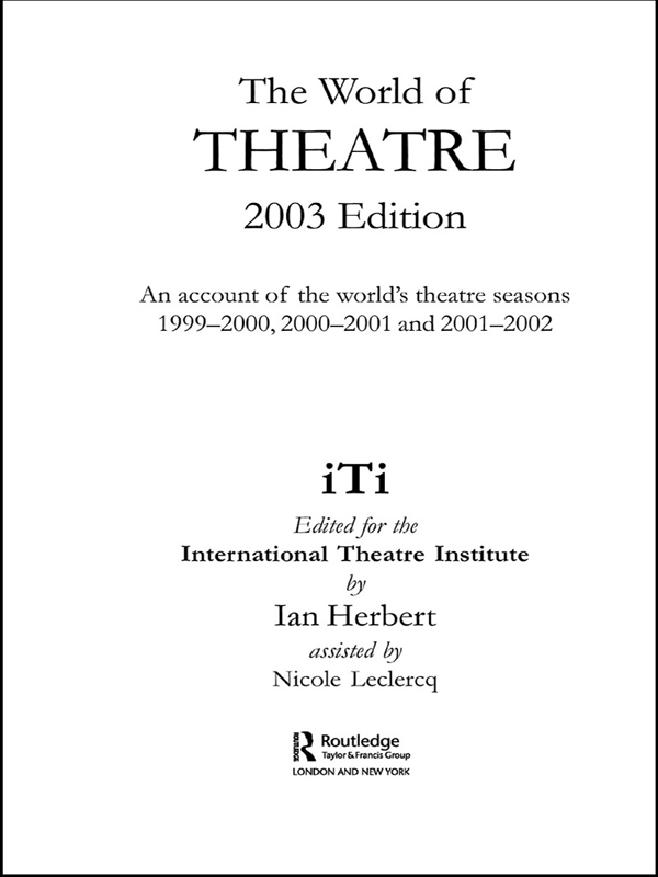 World of Theatre 2003 Edition
