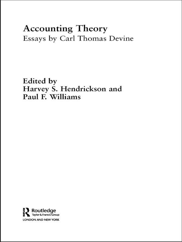 Accounting Theory Essays by Carl Thomas Devine