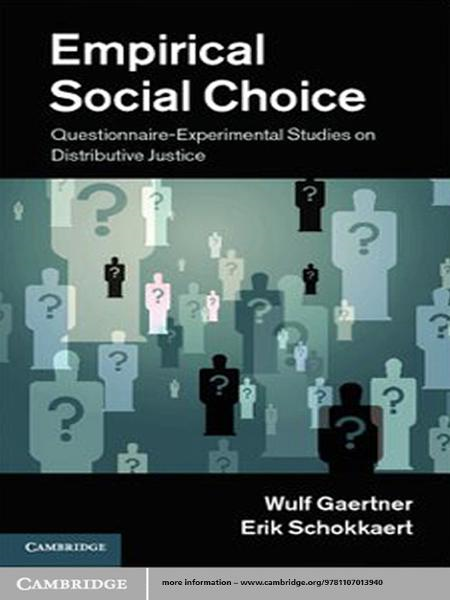 Empirical Social Choice Questionnaire-Experimental Studies on Distributive Justice