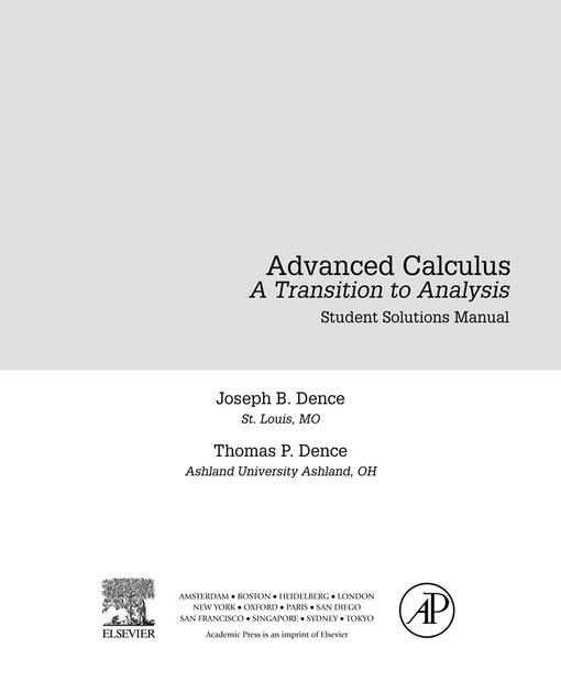 Advanced Calculus: A Transition to Analysis, Student Solutions Manual (e-only)
