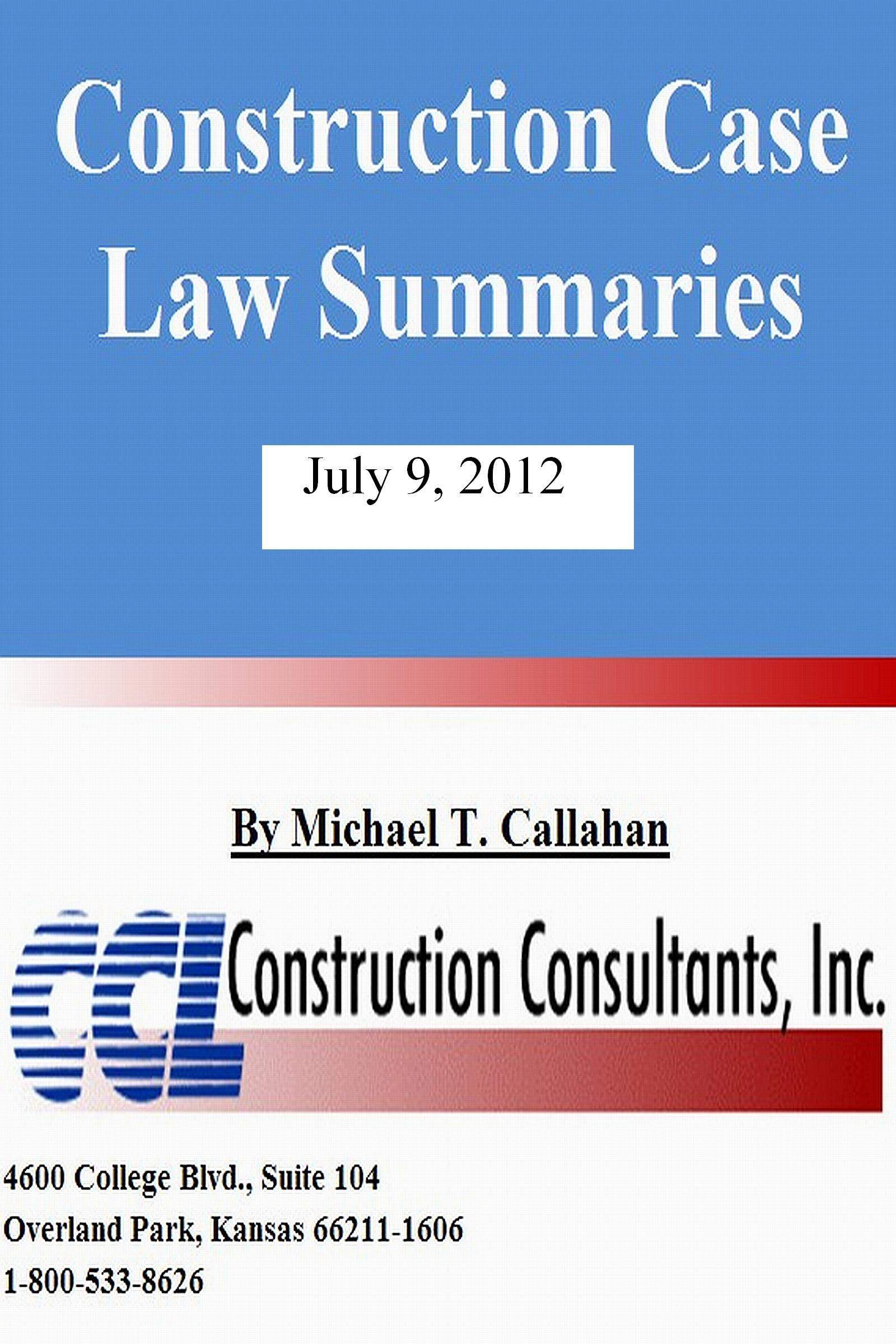 Construction Case Law Summaries: July 9, 2012