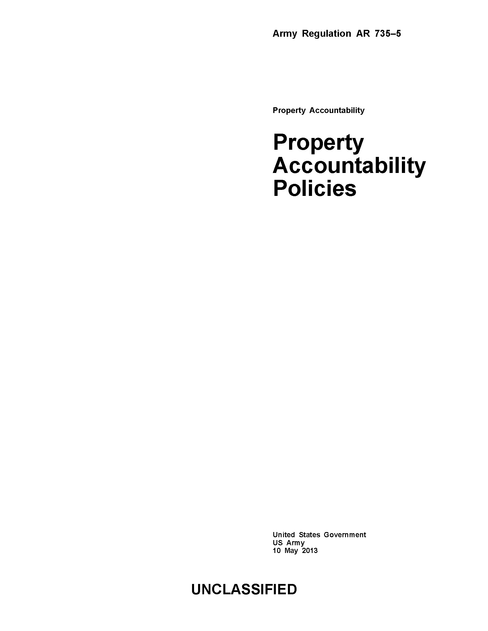 Army Regulation AR 735-5 Property Accountability Policies 10 May 2013