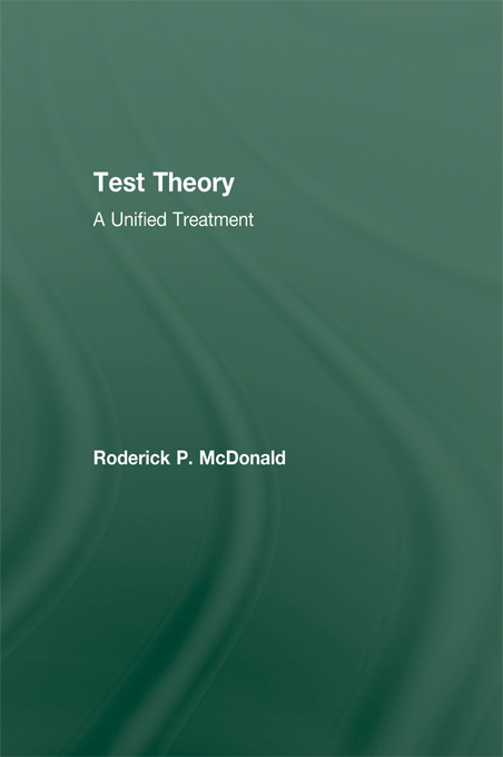 Test Theory A Unified Treatment