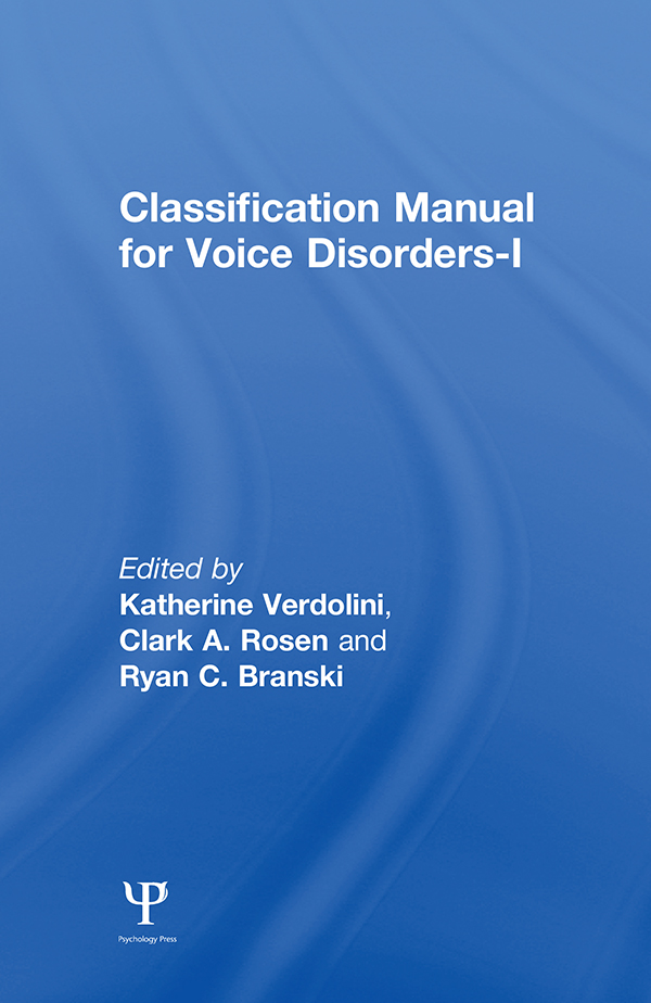 Classification Manual for Voice Disorders-I