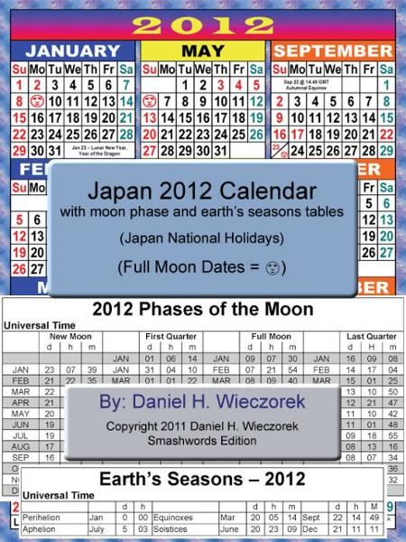2012 Japan Calendar With Moon Phase Table