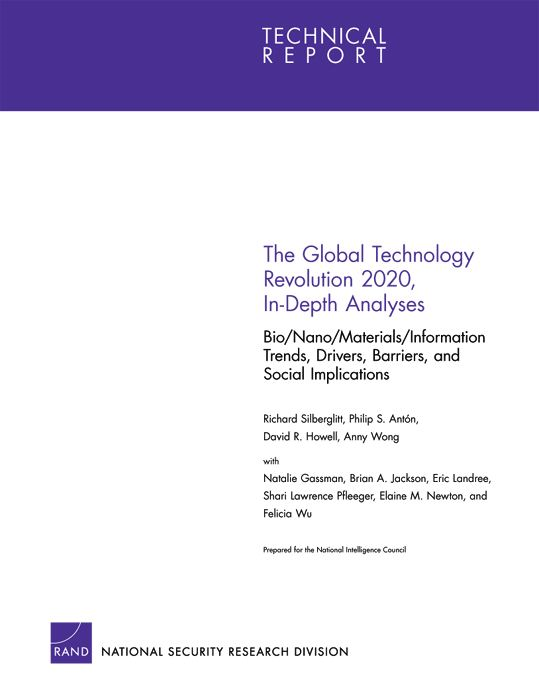 The Global Technology Revolution 2020, In-Depth Analyses: Bio/Nano/Materials/Information Trends, Drivers, Barriers, and Social Implications